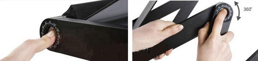 une main appuye sur le bouton et tourne pour ajuster à 360°