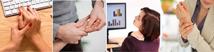 une main est représenté avec des douleurs du canal carpien