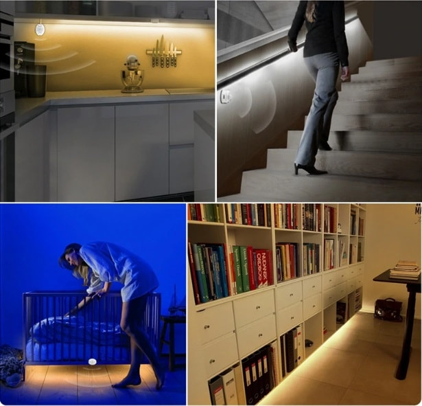 utilisation ergonomique lumiere détection cuisine salon chambre